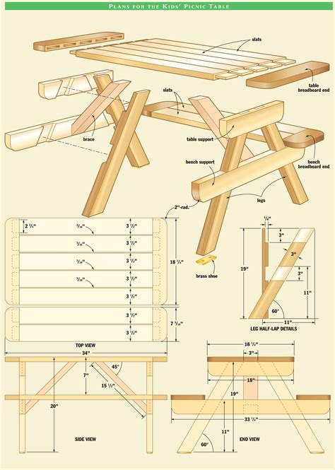 Kids Wooden Picnic Table Plans