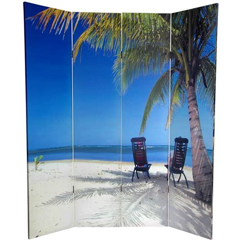 Kight 72 x 63 Double Sided Ocean 4 Panel Room Divider