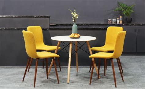 Kitchen Chairs With Metal Legs Coavas Kitchen Dining Chairs Set Of 4 Fabric Cushion Side