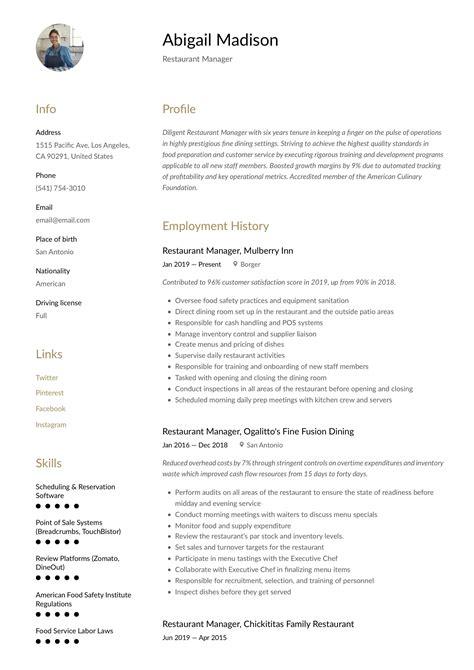 Restaurant Kitchen Manager Resume job resume free restaurant manager resume examples template