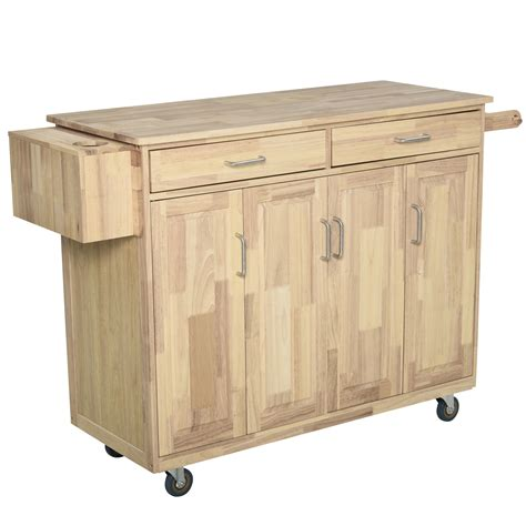 Kitchen Rolling Cart With Drawer And Doors