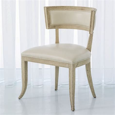 Klismos Genuine Leather Upholstered Dining Chair