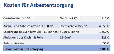 Kosten Asbestentsorgung