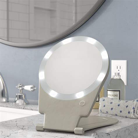 Kristi 10x Lighted Round Travel and Home Mirror