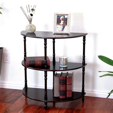 Ladoga 3-Tier Half Moon End Table in White