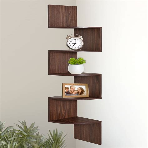 Large 5 Tiers Corner Wall Shelf