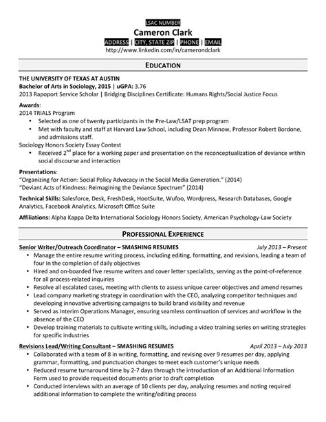 sample law school resumes template