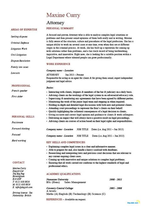 Commercial Lawyer Competencies Lawyer Resume Template Cv Example Job Description Solicitor