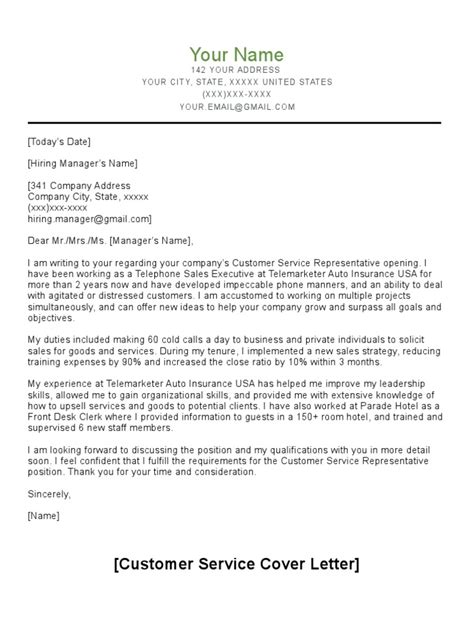 Example Customer Service Cover Letter