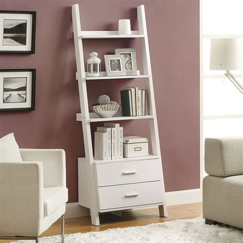 leaning bookshelf with drawers