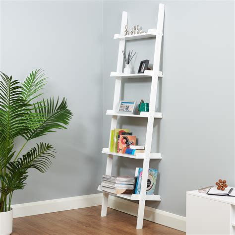 leaning ladder wall shelf