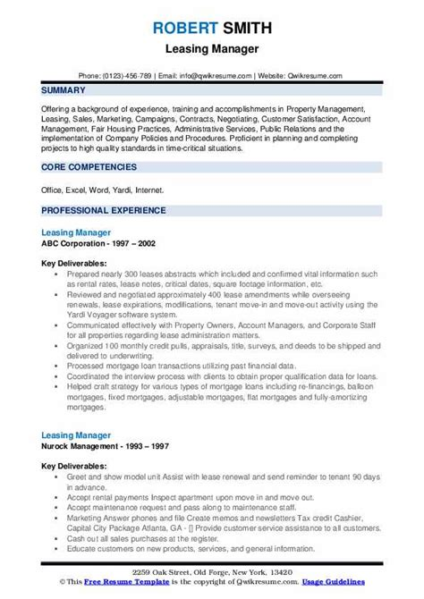 leasing manager resume sample manager resume best sample resume - Sample Property Manager Resume