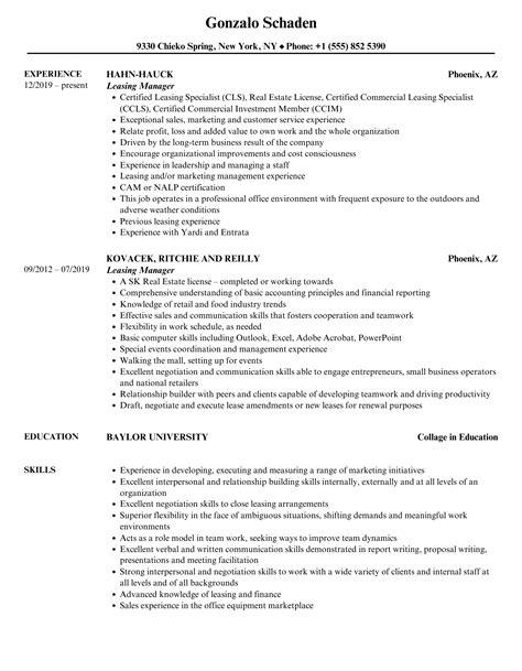 resume leasing manager leasing manager resume samples jobhero