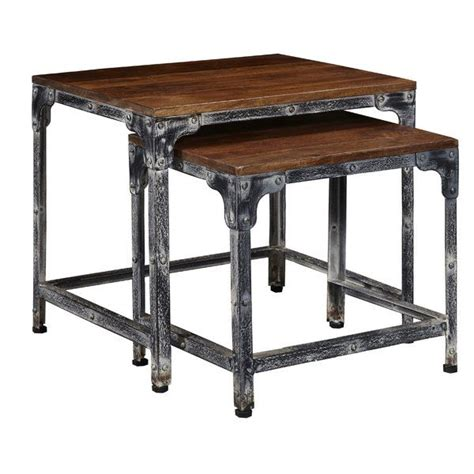 Leeann Distressed Wood and Metal 2 Piece Nesting Tables