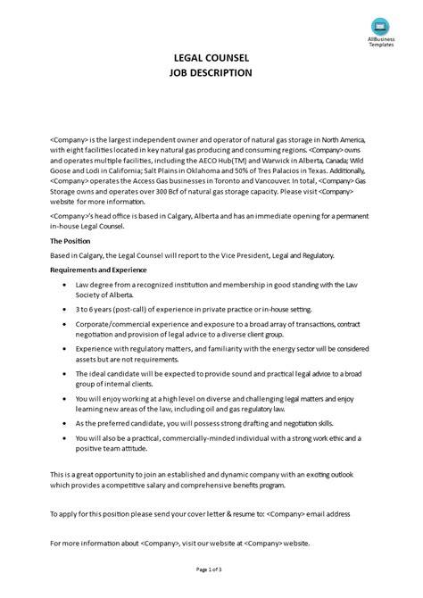 Commercial Lawyer Duties Legal Counsel Job Description Template Workable