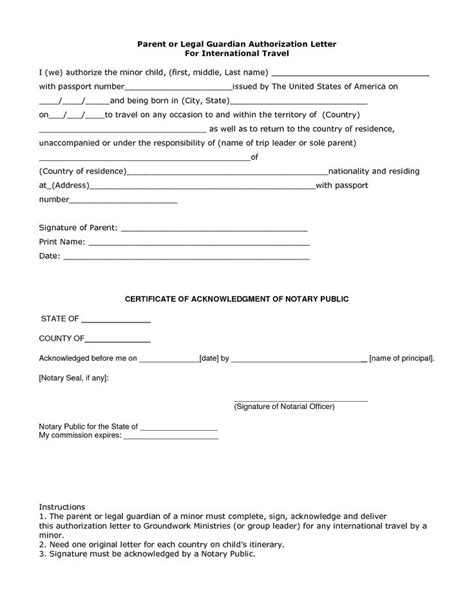 legal guardian letter consent letter of consent letter of attorney downloads support