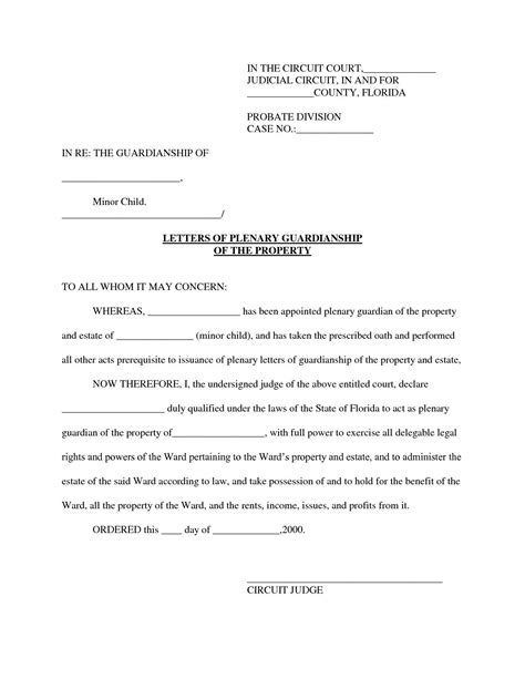 legal guardian letter consent temporary guardianship letter sample letters