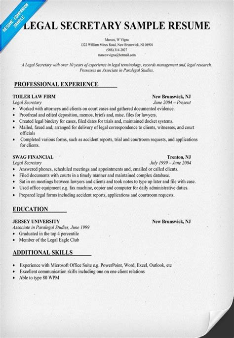 Legal Secretary Resume Template Free Dental Assistant Resume Template