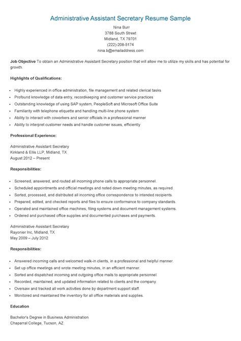 Legal Secretary Resume Template Free Sample Administrative Assistantsecretary Resume Template
