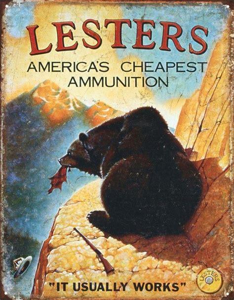 Ammunition Lesters Ammunition Tin Sign.