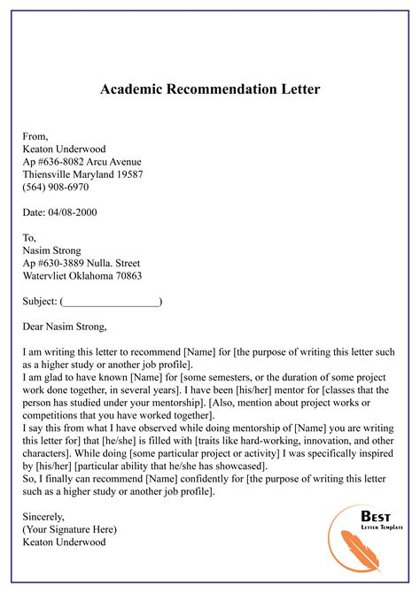 Letter Of Recommendation Sample Early Childhood Education Academic Reference Letter And Request Examples