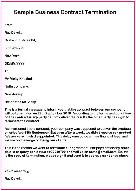 Letter Of Intent To End Contract Contract Termination Sample Letter Notice Of