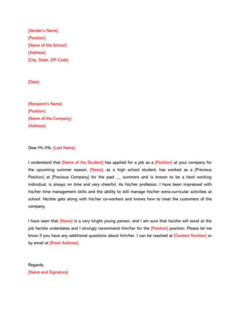 Letter Of Recommendation Example High School High School Student Recommendation Letter Sample Letters