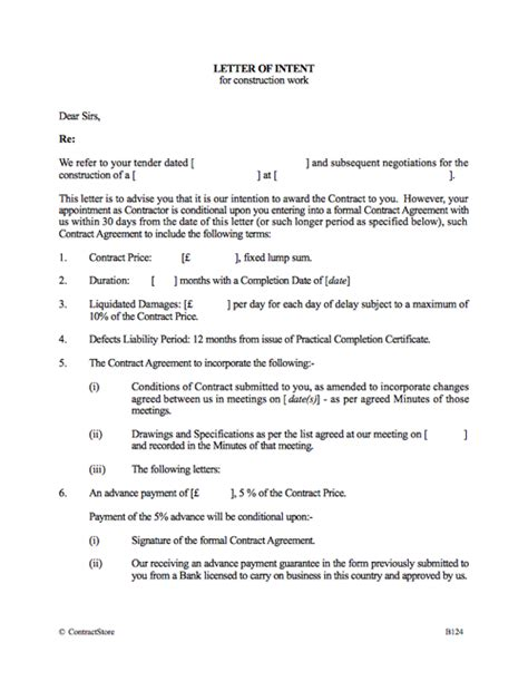 letter of intent for a construction contract letter of intent template contractstore