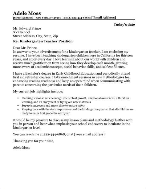 Letter Of Resignation Preschool Teacher Kindergarten Teacher Cover Letter Free Sample Letters