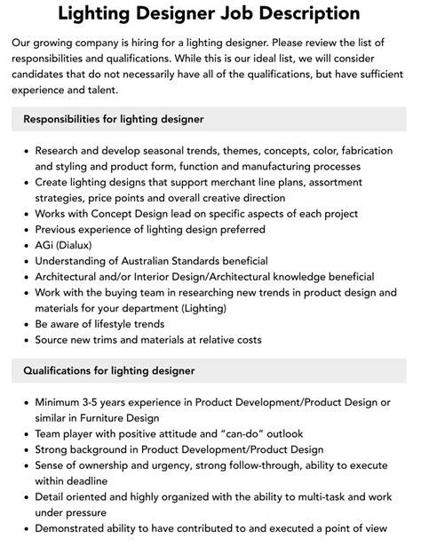 Lighting Designer Job Role Description Interior Creativepool