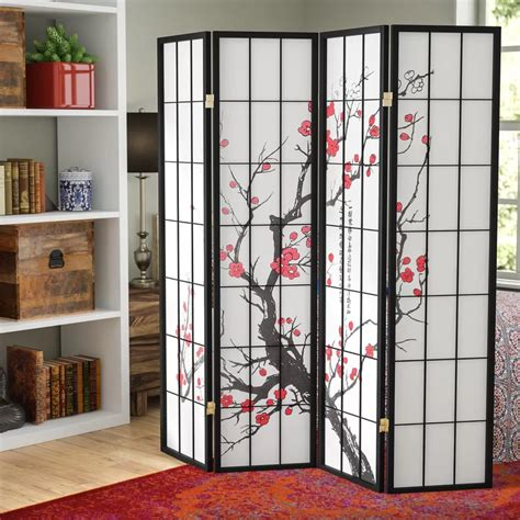 Lilliana 71 x 72 Japanese Plum Blossom 4 Panel Room Divider