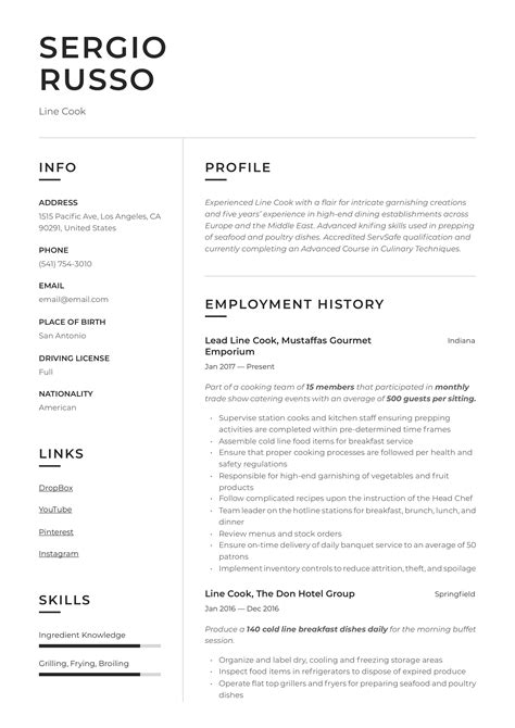 Resume For A Chef Executive Examples