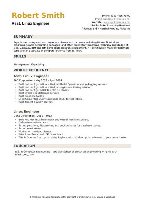 linux engineer resume sample sample resume for linux system administration and formats - Linux Engineer Sample Resume