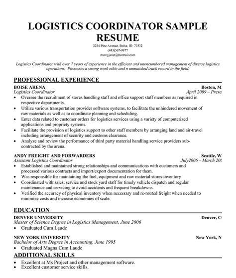 logistics coordinator resume sample resume ideas