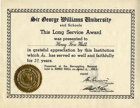 long service certificate template sample