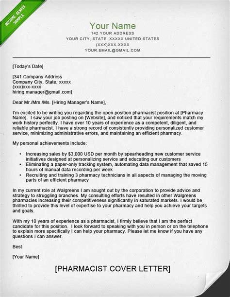 Long Term Care Pharmacist Cover Letter Pharmacist Cover Letter Sample