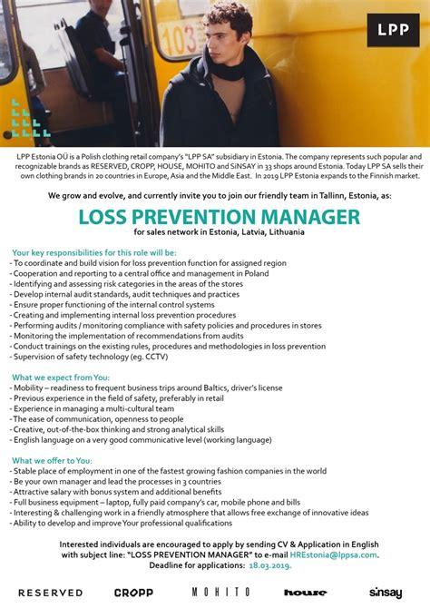 loss prevention job description resume product development