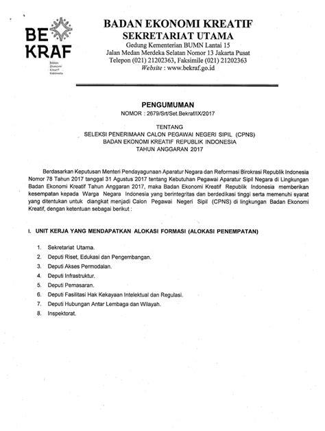 Contoh Soal Twk Cpns Badan Ekonomi Kreatif 2017 Gratis  Lowongan Kerja Cpns Badan Ekonomi Kreatif 93 Formasi