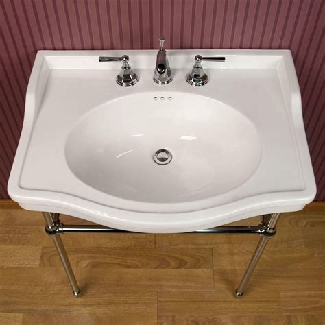 Brass Luciana Console Sink With Brass Stand.