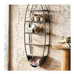 Lynnhurst Metal and Wood Oval Wall Floating Shelf