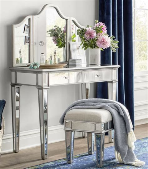 Lyra 2-Piece Mirrored Vanity & Stool Set byWilla Arlo Interiors