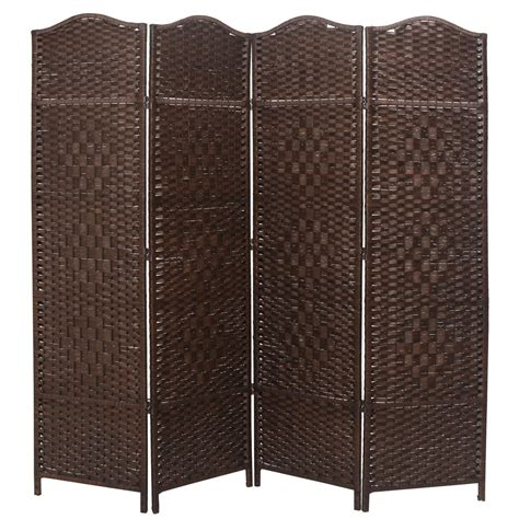 Macey 71 Tall Diamond Weave Fiber 6 Panel Room Divider