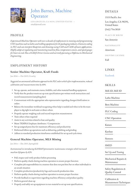 cnc operator resume sample resume templates android developer