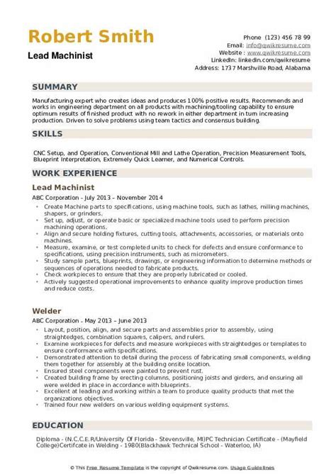 machinist resume templates free machinist resume occupationalexamplessamples free edit - Machinist Resume Template