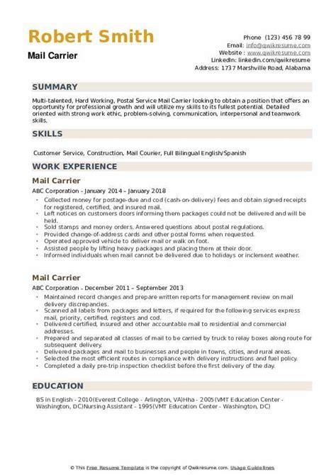 mail carrier description resume letter carrier resume templates - Letter Carrier Resume Templates
