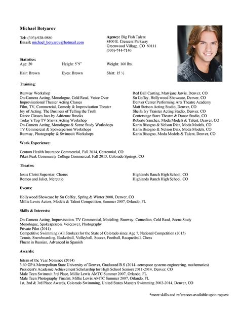 Make A Acting Resume Online Acting Resume Template Daily Actor
