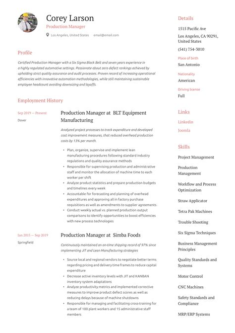 manager production resume resume sample production supervisormanager