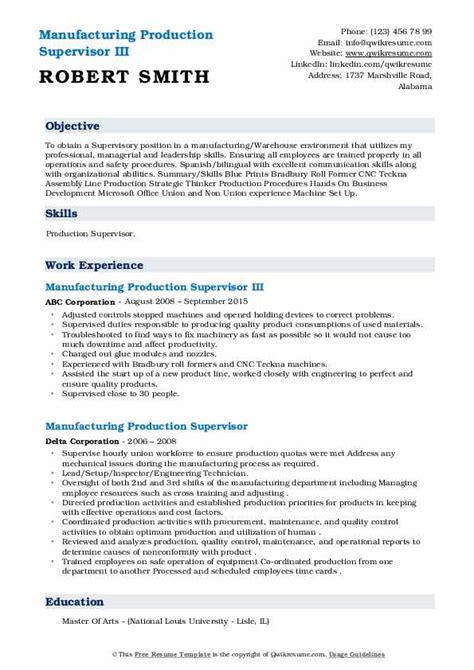 manufacturing resume examples