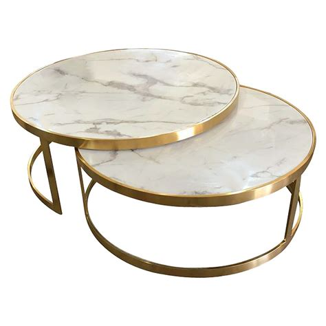 Marble Round 2 Piece Nesting Tables