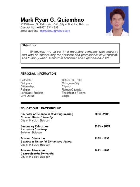 Resume Templates You Can Download JobStreet Philippines Carpinteria Rural Friedrich OFW Guru Is The Newest
